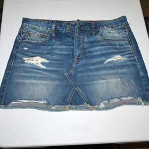 Denim Jean Skirt Button Fly Destressed